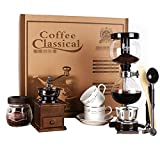 FYHKF Siphon Coffee Maker Set Coffee Syphon Technia Siphon pot gift box Suit 3 cups, 39 * 14 * 44cm Vacuum Coffee Makers