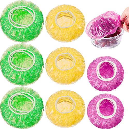 120 Pieces Reusable Food Storage Covers Elastic Colorful Bowl Covers Dish Plate Plastic Covers for Family Outdoor Picnic