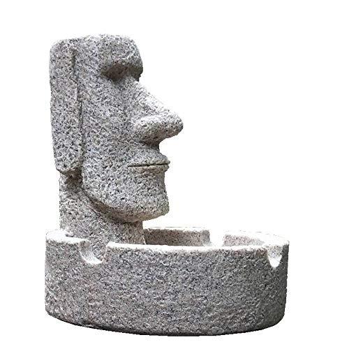 LIAOLEI10Estatua Cenicero Creativo Colossus Personalidad Resina de Oficina Multifunción Cenicero Moai Hogar Decoración del Dormitorio Isla de Pascua Regalo