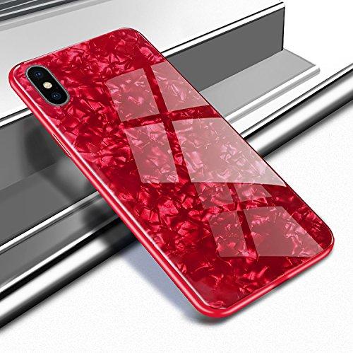 Yobby Glas Hülle für iPhone XS Max 6.5 Zoll, iPhone XS Max Rot Handyhülle Kristall Funkeln Glitzer Muster Schlank Weich TPU Bumper Schutzhülle Reflektierend Glänzend Spiegel Rückseite