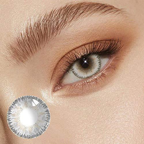 BHUJYG Kontaktlinsen, 2Pcs / Pair-Engel EIS-Blau gefärbte Kontaktlinsen Schöne Schüler Halloween Cosplay für westliche Mädchen natürlichen Augen Make-up,Grau
