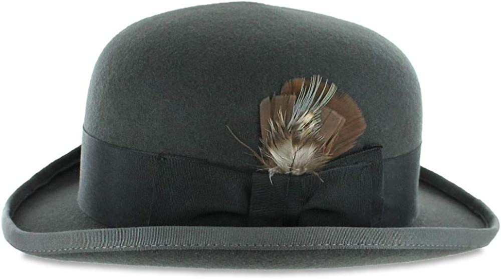Men's Vintage Style Hats, Retro Hats Belfry Bowler Derby 100% Pure Wool Theater Quality Hat in Black Brown Grey Navy Pearl Green  AT vintagedancer.com