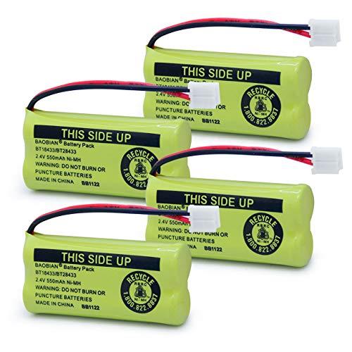 BAOBIAN BT18433 BT28433 Phone Battery for BT184342 BT284342 BT1011 BT-1011 AT&T Vtech CL80109 CS6209 TL90078 BT-8300 BATT-6010 Uniden CS6219 CS6229 BT-1018 BT-1022 (4Pack)