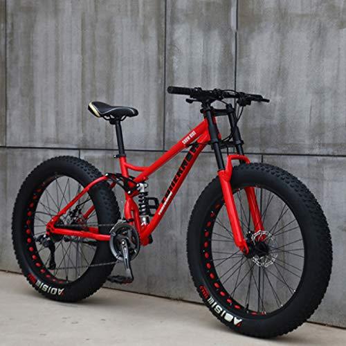 JXJ VTT Vélo Tout Suspendu en Acier à Haute Teneur en Carbone Double Frein à Disque Vélo de Montagne pour Hommes et Femmes (26 Pouces, 7/21/24/27 Vitesses)