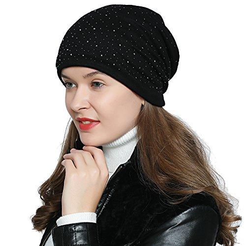 DonDon Bonnet d'hiver femme slouch beanie souple avec strass doublure moelleuse et chaude - Noir