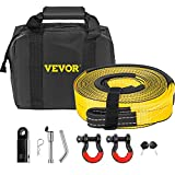 VEVOR Winch Recovery Kit, 100% Polyester & Forged Steel Snatch Block Kit with 3'x 30' & 30000 LBS Heavy Duty Towing Strap & 2 D-Ring Shackles of 9500 LBS/4309 KG Each, Off Road Recovery Gear 6PCS