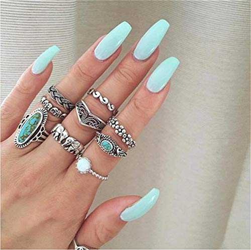 Cathercing 9 Pcs Turquoise Ring Set for Women Knuckle Vintage Rings Pack for Women Girls Bohemian Rings Silver Joint Knot Rings Set for Teens Halloween Party Daily Gift (style 3)