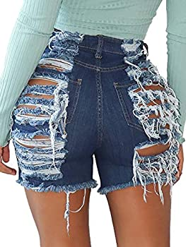 Govc Women High Rise Distressed Stretchy Jean Shorts Ripped Hole Denim Short Jeans DarkBlue,L
