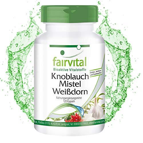 Knoblauch Kapseln mit Mistel + Weißdorn - KMW Kapseln - HOCHDOSIERT - VEGAN - 120 Kapseln