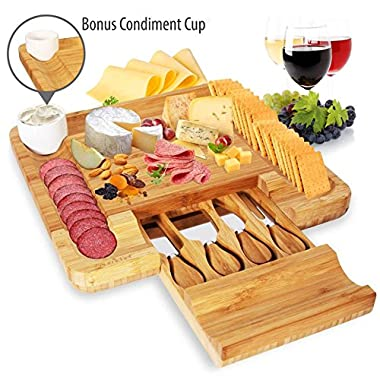 Bamboo Cheese Cutting Board Set - Bonus Condiment Cup - Flat Wood Rectangle Serving Platter Plate Kit for Fruit and Meat w/ Closing Drawer Tray, 4 Stainless Steel Knives - NutriChef PKCZBD10