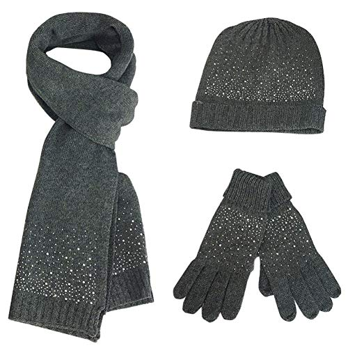 FEOYA Femme Ensemble Bonnet Echarpe Gants Perçage à chaud acrylique Elastique Mode Cadeau Noël Anniversaire ,Gris,Taille unique