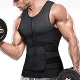 Mens Neoprene Sweat Waist Trainer Vest Sauna Workout Tank Tops with Adjustable Belt & Zipper for Weight Loss (Black Sweat Vest with Trimmer Belt, L)