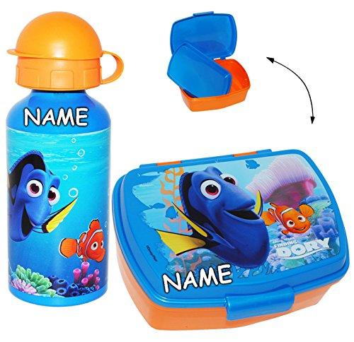 alles-meine.de GmbH 2 TLG. Set _ Lunchbox / Brotdose & Trinkflasche -  Disney - Findet Nemo - Fisch Dory  - incl. Name - mit extra Einsatz / herausnehmbaren Fach - transparent ..