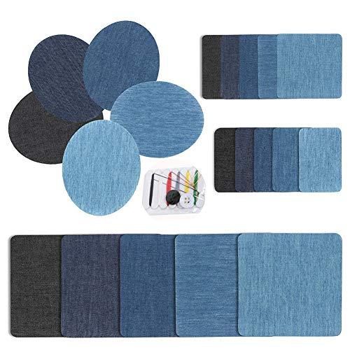 Patches zum Aufbügeln Set - Jeans Bügelflicken,Flicken zum Aufbügeln Jeans Denim Baumwolle Patches für Kleidung Reparatur (21PCS)