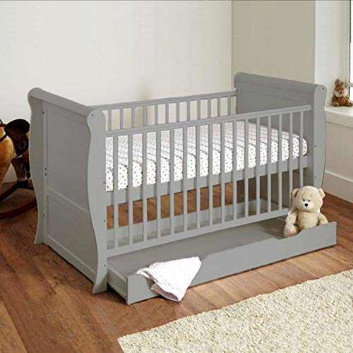 ABC Mini Sleigh Cot Bed-Grey + Free Under Bed Drawer & Fully Sprung Mattress/can Convert in to a Bed or Sofa/Fast Deliver
