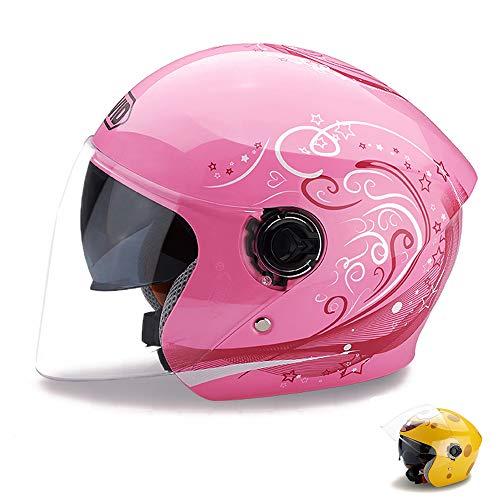 ZJRA Flip-Kinderhelm, Motorradhelm Für Kinder, Fahrrad-Halbe Helme, Motorrad Moped Junge Mädchen Kinder, Doppelsonnenblende,Rosa