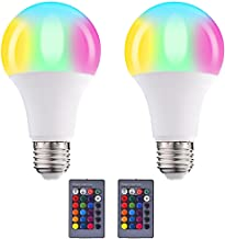 2PCS 10W Color Changing Bulb with Remote Control Smart Bulb E27 Threaded Base RGB and White Dimmable LED Light Bulb 16 Col...