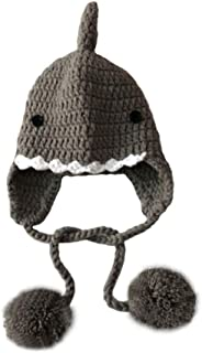 Toddler Knit Hat Baby Infant Winter Warm Shark Animal Hat Ear Flaps Kids Knit