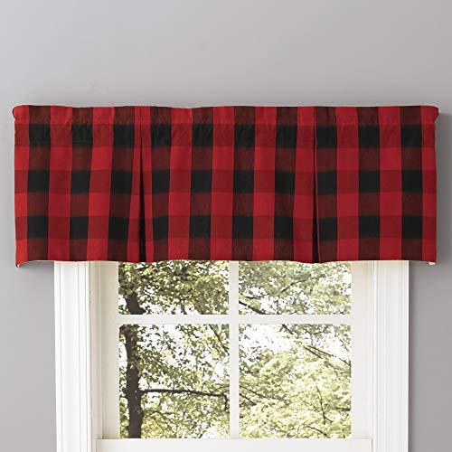 Park Designs Buffalo Check Lined Pleat Valance, Window Curtain Drapery, Red /Black, 45 X 15