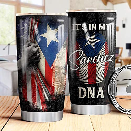 Personalized Name Puerto Rico Flag Stainless Steel Tumbler 20 Oz & 30 Oz Vacuum Insulated Travel Mug with Lid, Insulated Coffee Cup, for Home, Outdoor, Office, School, Ice Drink, Hot Drink