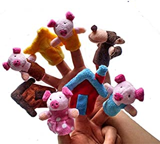iMagitek Story Telling Time Finger Puppets, The Three Little Pigs Animal Finger Puppet Toy Educational Toys Fairy Tale Toy Plush Puppet Storytelling Doll