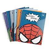 Yoobi x Marvel Spiral Notebooks (Set of 6) – Pack of 1 Subject College Ruled Spiral Notebook w/ Glittery Character Cover -PVC Free Spiral Bound Notebook –3-Hole Punched, 100 Sheet Notebooks for School