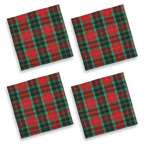 Cackleberry Home Red and Green Christmas Plaid with Gold Lurex Woven Fabric Napkins 17 Inches Square, Set of 4