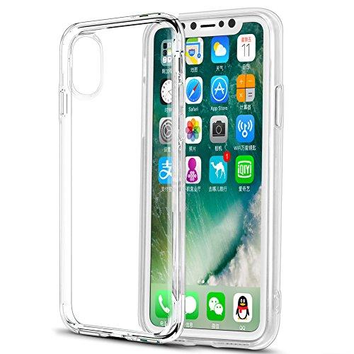 Eouine Funda para iPhone XS, Fundas para iPhone X, Ultrafina Carcasa de Silicona Transparente Suave Gel TPU y Liquid Crystal Case Cover Fundas Movil para iPhone XS/X 2018-5,8 Pulgadas (Transparent)