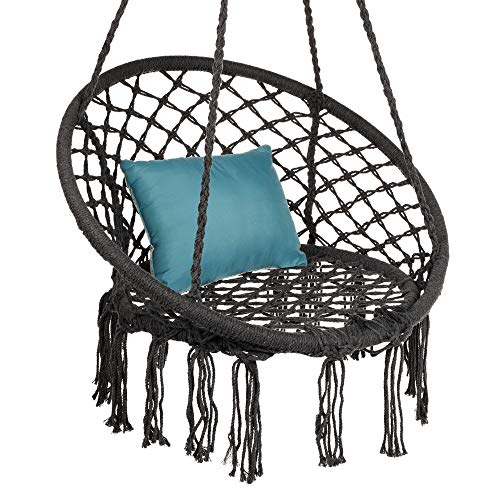 Best Choice Products Handwoven Cotton Macramé Hammock Hanging Chair Swing for Indoor & Outdoor Use w/Backrest, Fringe Tassels, 265 Pound Capacity - Black