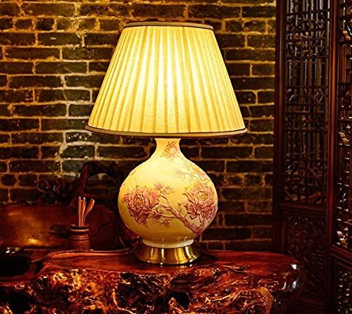 KFJZGZZ Dormitorio lámpara de noche europeo salón estudio retro resina decorativa resina lámpara de mesa dormitorio
