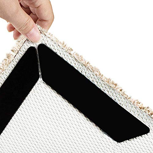 VIDEN Antirutschmatte für Teppich, 10 Stück Teppichgreifer Antirutschmatte Doppelseitiger Rug Grippers Washable Wiederverwendbar Teppich Aufkleber Starke Klebrigkeit, Schwarz