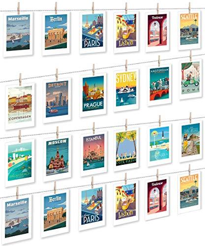LeTOMA Fotoseil ideal um möglichst viele Fotos und Kinderzeichnungen aufzuhängen - 20 Meter hochwertige Schnur und 50 rustikale Mini-Holzklammern verwandeln Jede Wand in EIN einzigartiges Kunstwerk