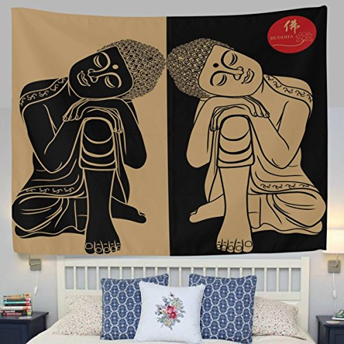 HMWR Retro India Tapestry Wall Hanging Buddhism Twins Buddha Yoga Wall Decor Art Polyester Bedspread Picnic Bedsheet Blanket Hippie Tapestries 60x80 Inch