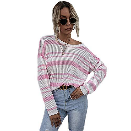 HUSTLE Jersey Punto Mujer Rayas Camiseta Manga Larga Sueter Suelto Jerseys Camisa Tops Pull-Over Suéter Mujer Primavera Otoño,S