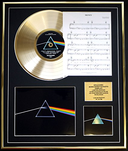 EC PINK Floyd CD Gold DISC UND Photo UND Song Sheet Bildschirm/Limitierte Auflage/COA/Album, The Dark Side of The Moon/Song Sheet, Money