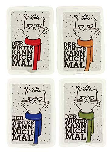 MIK Funshopping Handwärmer Taschenwärmer Sets (4er-Set Katzen mit bunten Schals - Der Winter Kann Mich Mal)