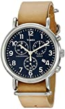 Timex Unisex TW2P62300 Weekender Chrono Tan Double-Layered Leather Slip-Thru Strap Watch