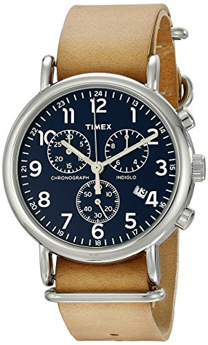 Timex Unisex TW2P62300 Weekender Chrono Tan Double-Layered Leather Slip-Thru Strap Watch