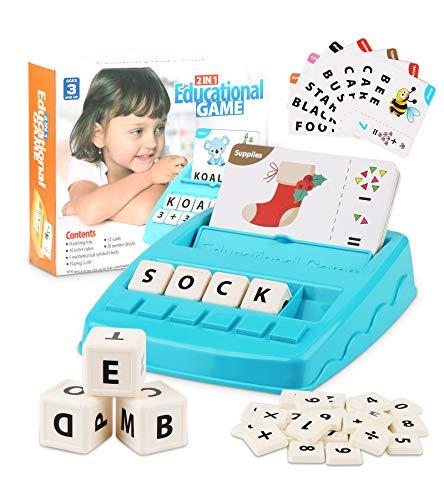 Parsion Alphabet Matching Spiel und Buchstabieren Brettspiele Kinderspiel, Buchstaben Wörter Lernspielzeug Mathematik Educational Spielzeug für Kinder Mädchen Jungen 3-8 Jahre Geschenk ideal (Blau)