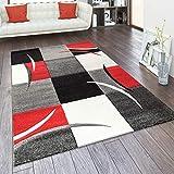 Alfombra Salón Tamaños Motivo Cuadros Rayas Diseño 3D Pelo Corto, tamaño:160x230 cm, Color:Rojo