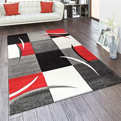 Alfombra Salón Tamaños Motivo Cuadros Rayas Diseño 3D Pelo Corto, tamaño:120x170 cm, Color:Rojo