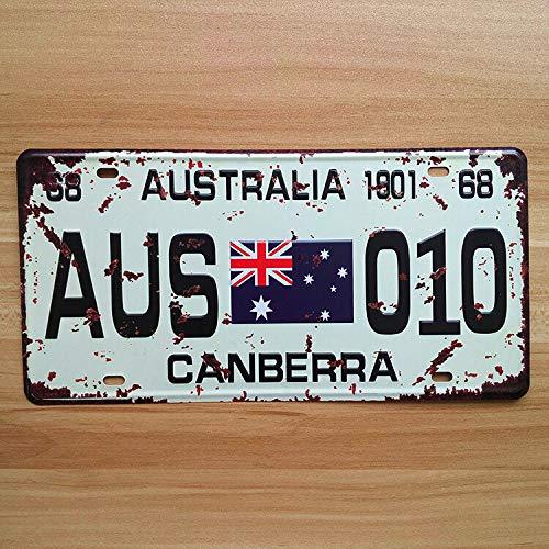 Blechschild Canberra, Australien Kennzeichenschild, 15,2 x 30,5 cm