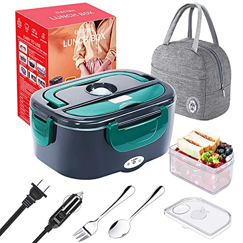 Electric Lunch Box Food Heater, [Upgraded] 20mins Fast Heat Up Portable Microwave Lunch Box for Car, Truck, Home & Office- 110V/12V 24V 60W, 1.5L Stainless Steel Container, Fork & Spoon, Insulated Bag