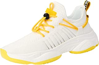 Yong Ding Men Casual Sneakers Breathable Mesh Low Top Sports Shoes with Lace Up Closure for Athletic Training and Running 7.5US White and Yellow