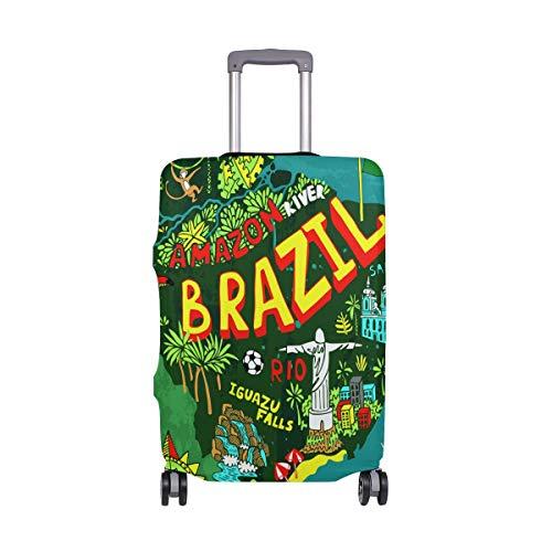 Cartoon Brasile Mappa Bagagli Copertura Protector Spandex Viaggio Valigia Bagaglio Copertura per Adulti Donne Uomini Teen Adatto 18-20 Pollici