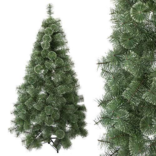 Arcoiris ® Árbol de Navidad Artificial, Natural Verde, Material PVC, el Soporte de Madera, 150cm - 210cm, (Árbol Natural Verde, 180 CM)