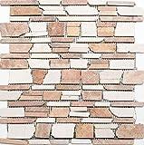Mosaico de baldosas de mármol y piedra natural beige y rojo Brickmosaik Biancone Rosso...