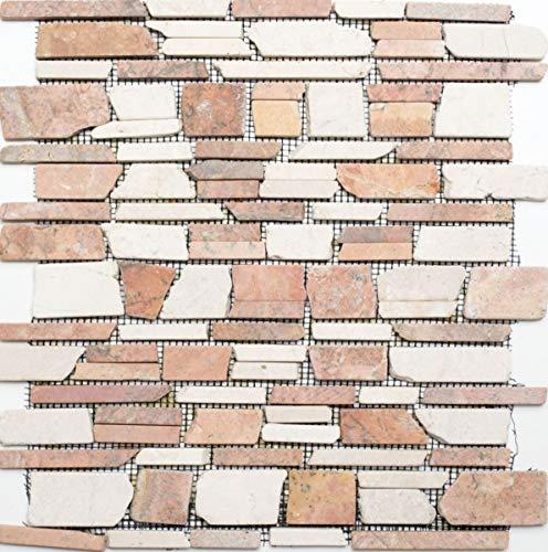 Mosaico de baldosas de mármol y piedra natural beige y rojo Brickmosaik Biancone Rosso MOS40-0225