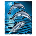 "Dawhud Direct Super Soft Full/Queen Size Plush Fleece Blanket, 75"" x 90"" (Dolphins)"