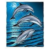 Dawhud Direct Super Soft Full/Queen Size Plush Fleece Blanket, 75' x 90' (Dolphins)